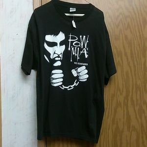 P.O.W. M.I.A. We Remember Men's T Shirt XL